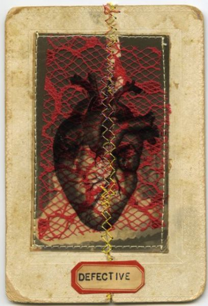 Broken Heart Collage on damaged photo with thread and lace for the JAC project.