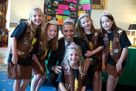 "May 24, 2014 ""This photograph was from the annual White House Science Fair. It shows the President posing with Girl Scout Troop 2612 in Tulsa, Oklahoma. I think the eight-year-old girls–Avery Dodson, Natalie Hurley, Miriam Schaffer, Claire Winton and Lucy Claire Sharp–are called 'Brownies'. They had just shown the President their exhibit: a Lego flood proof bridge project. The fair celebrated the student winners of a broad range of science, technology, engineering and math (STEM) competitions from across the country."" (Official White House Photo by Pete Souza)"
